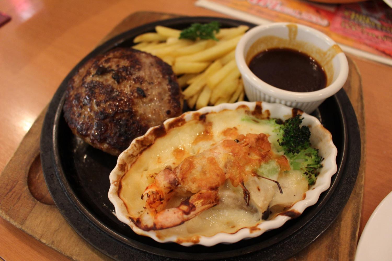 ハンバーグステーキ&海老マカロニグラタン
