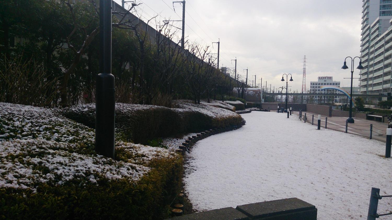 うっすら雪が積もる武蔵浦和