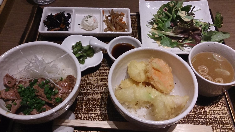 鯰と野菜の天丼 + 子羊の生姜焼き丼